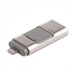 Univerzální flash disk 3v1 (USB, Lightning, micro-USB), 128GB - stříbrná