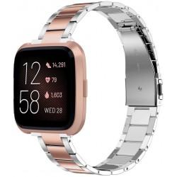 Náhradní ocelový řemínek Wearlizer pro hodinky Fitbit Versa, růžová