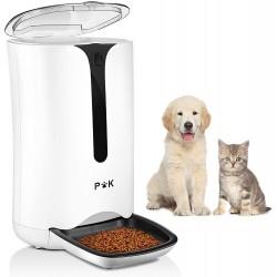 Automatický dávkovač suchého krmiva s LCD displejem Puppy Kitty - 7L (3kg), bílá